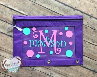 Personalized Monogrammed Pencil Pouch, Pencil Case, Personalized School Supplies, Back to School, 3 Ring Pencil Case, Zipper Pouch