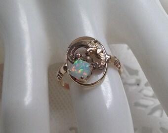 Rose Gold 10k Opal ring