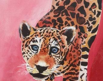 Leopard Cub Original Acrylic Painting- 11x14