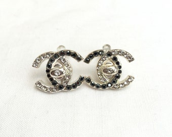 Earrings Chanel rhinestone silver & Black