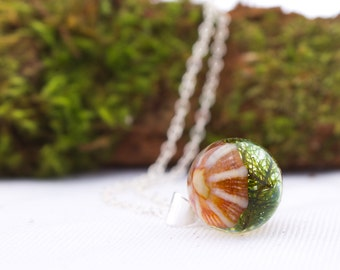 Sterling Silver Orange Opihi Shell sphere moss resin necklace- 13mm nature inspired-gift for her-Coastal orb-terrarium/eco-coastal sphere