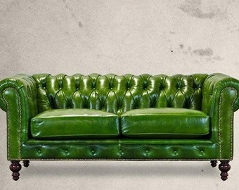 Beautiful Chesterfield Vintage Green Sofa .