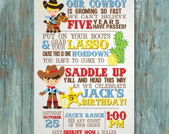 Cowboy or Cowgirl Birthday Party Invitation