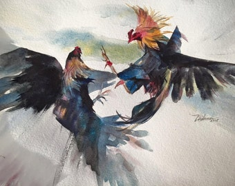 Rooster Fighting Watercolor