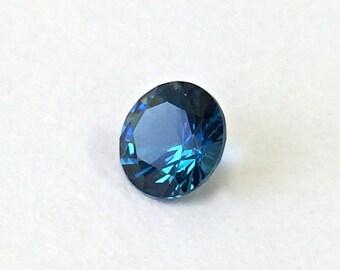 Topaz Swiss Blue dark. Excellent Round cut 6 mm. 0.84 Ct. NANOSITAL. US@GEMS