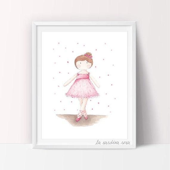 Ballerina wall art girls room decor pink tutu ballerina for Girls wall art