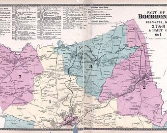 1877 Map of Bourbon County Kentucky 2 Map Set