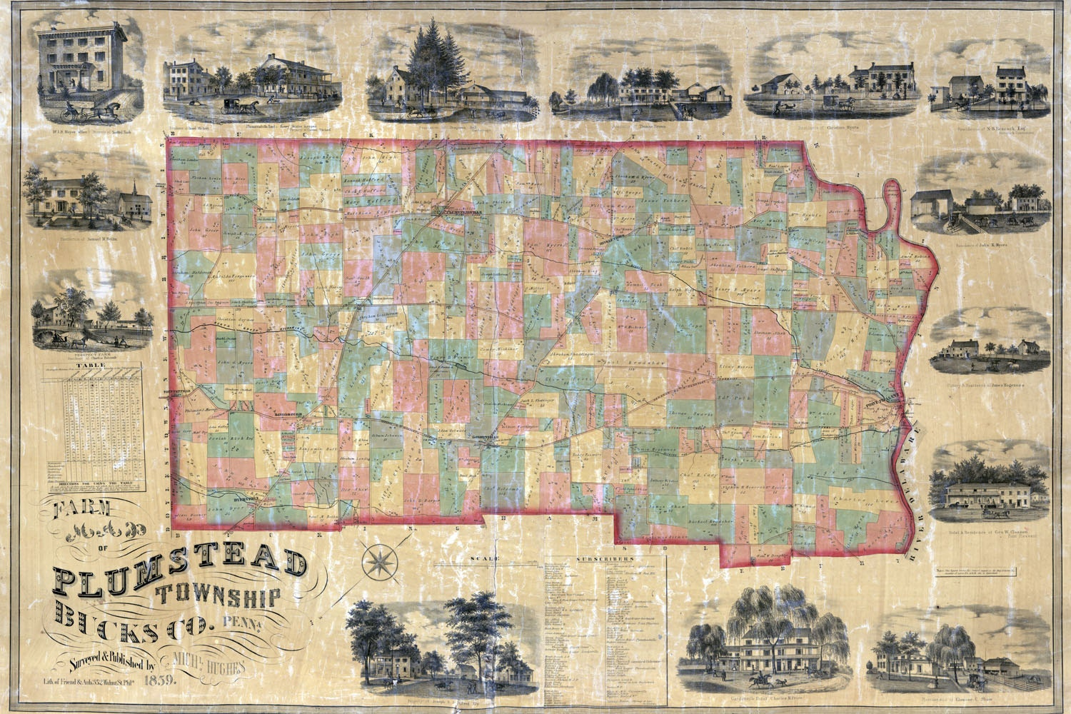 1859 farm line map of plumstead township bucks county pa for Craft shows in bucks county pa