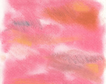Abstract Art Print - mixed media, pink