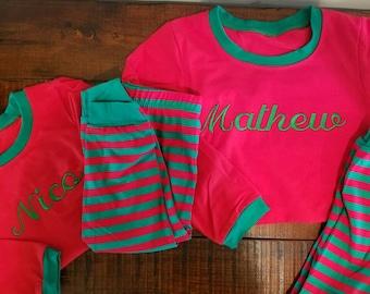 Kids Christmas Pajamas for Boys and Girls, monogrammed pajamas, kids christmas pajamas, family picture pajamas, personalized pjs, christmas