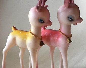 Neat-o Vintage 1960s Christmas Plastic Big Eyed Reindeer