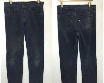 80's levi's 519 slim straight corduroy pants faded navy blue mens size w34