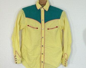 80's vintage polo ralph lauren western wear shirt snap button size xs