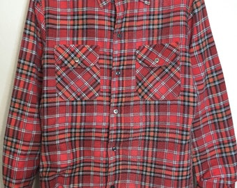80's vintage flannel shirt quilt lined red plaid mens size small