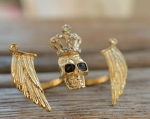 Skull Wings Ring two finger ring, crown skull ring
