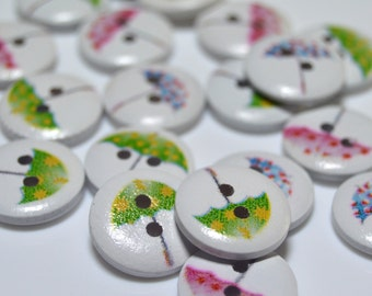 Round wooden buttons with umberella print  - WB005