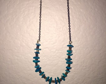 Turquoise and copper bead necklace