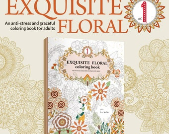 Exquisite Floral 1 - Printable Adult Colouring Book - Instant PDF Download