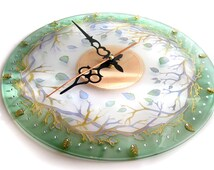 Hand painted glass wall clock, Forest Fairy Tale Wall Glass Clock, glass painting, round clock, painting on glass
