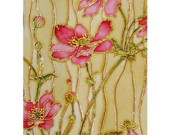 The Japanese Anemone, flowers painting, painting on glass, Stained-glass paintings