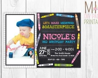 Crayon Photo Invitation, Colorful Birthday Invitation, Birthday Party Invitation, Birthday Invitation
