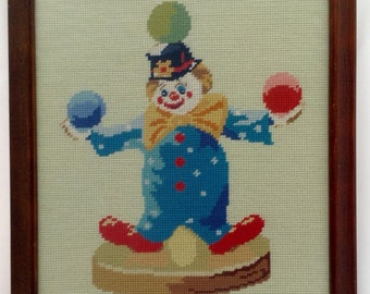 Vintage 1980's JUGGLING CIRCUS CLOWN~Needlepoint~Professionally Framed