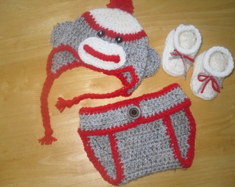 Crochet Baby Sock Monkey Hat, Diaper Cover, and Bootie Set; Sock Monkey Set for Baby; Baby Gift; Matching Hat, Booties, Diaper Cover