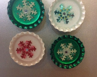 Snowflake bottle cap resin fridge / locker set of 4