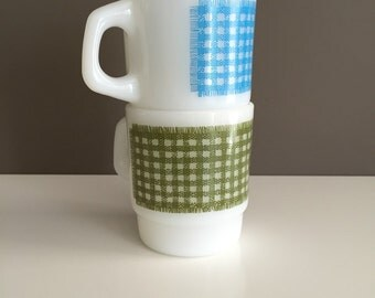 Gingham Fire King Mugs - Green & Blue