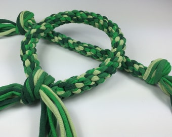 Lucky Green Mix Rope Ring Dog Toy made from Upcycled T-shirts St. Patrick's Day