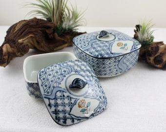 Two porcelain bowls 60s with lid Hand Paint  Bonbon Box Blue White Korean Styl