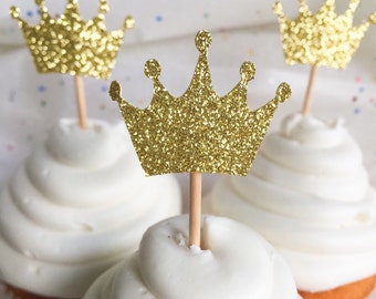 Gold Glitter Crown Cupcake Toppers • First Birthday • Baby Shower Toppers • Gender Reveal • Food Pick
