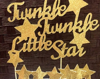 Twinkle twinkle little star cake topper, baby shower decor, first birthday, cupcake topper