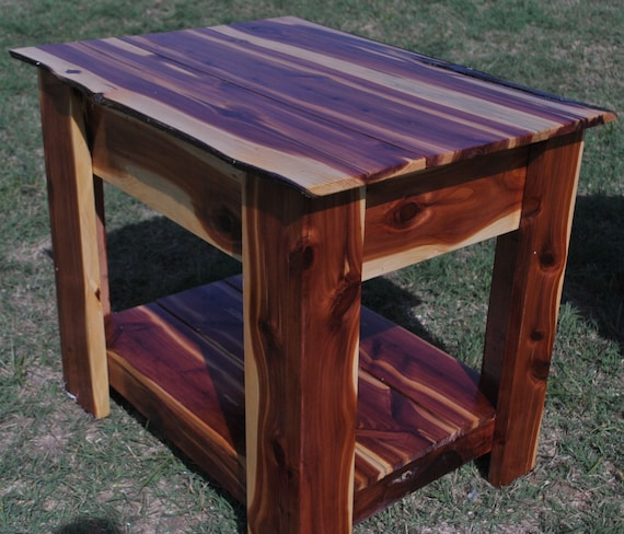 Handmade Red Cedar End Table With Hidden Gun Storage