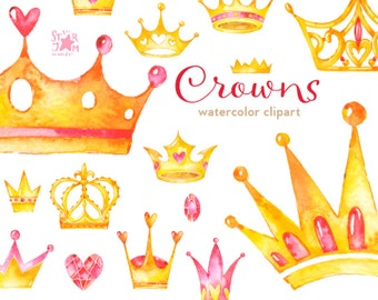Crowns. Watercolor clipart, diadem, gold, queen, greetings card, invitation, diy, luxury, glamour, princess
