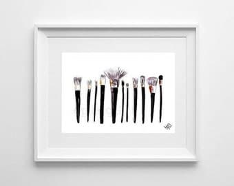 Makeup brushes Printable Wall Art decor watercolor painting gift print chanel brush modern shimmer serum for teen girl room decal horizontal