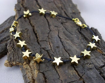 Bracelet of black Starfall Star Gold