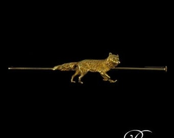 PIN old barrette yellow gold 18K 19th Century Fox