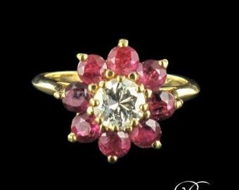 Ruby diamond ring yellow gold 18K Vintage