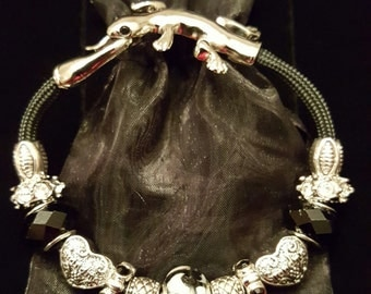 Black Rope Bracelet w/Lizard Clasp