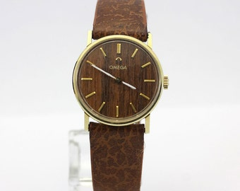 Vintage Omega watch 14K yellow gold wood dial leather band ladies 27.5MM genuine
