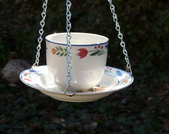 Tea Cup Bird Feeder with Tulips