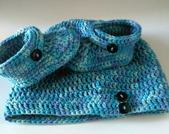 Crochet hat and booties for baby boy