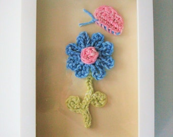 Children's Picture, Crochet Blue Flower and Pink Butterfly Wall Hanging, Fiber Art, Wall Picture, Girl's Room, Nursery, Playroom, Great Gift