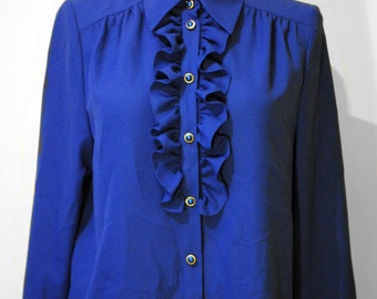 Vintage blue girl's top with smocking