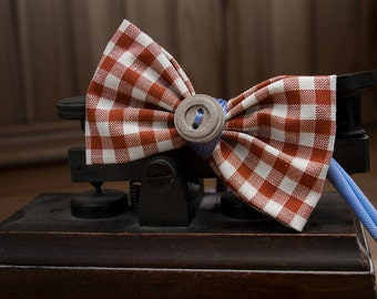 Bow tie brown checkered with blue inserts and button Papilau