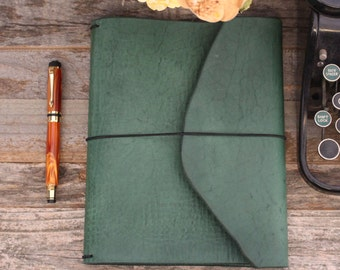 Leather Planner Cover- Travelers Notebook - Deep Green - Treehouse - Leather Quill Shoppe - Green Leather- Gift for Him - Holiday Gift