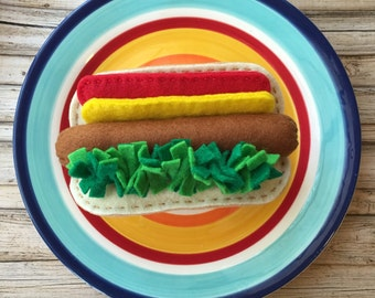 play food felt hot dog, play kitchen food, felt food hot dog, pretend food hot dog, dramatic play food hot dog, felt hot dog