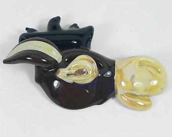 Glass Mule Pendant. Hand blown. Brown glass.