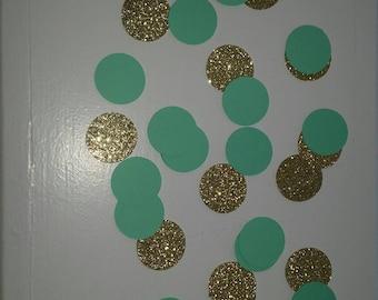 Mint and Gold Confetti